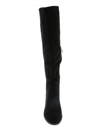 Kozak damski zamszowy na obcasie Sergio Leone, Kolor czarny