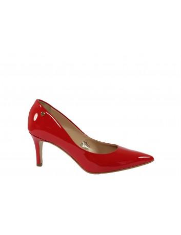 Szpilka damska skórzana RED, Kolor czerwony