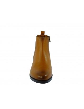 Skórzany botek damski z klamerką ALP, Kolor brązowy