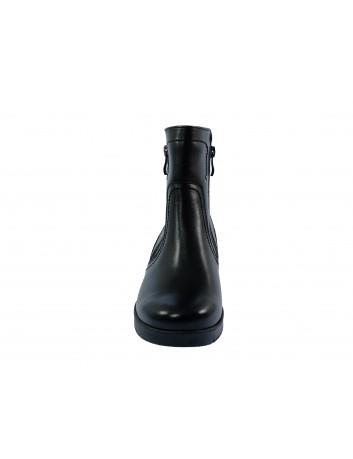 Botek damski skórzany 2 suwaki koturn GALANT, Kolor czarny