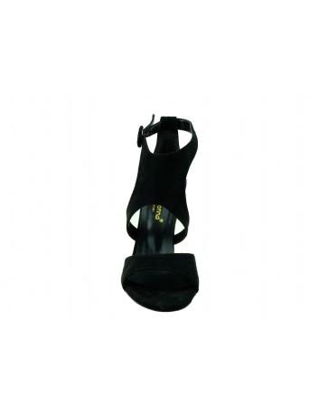 Sandał damski z zakrytą piętą na obcasie Filo Donna w kolorze czarnym