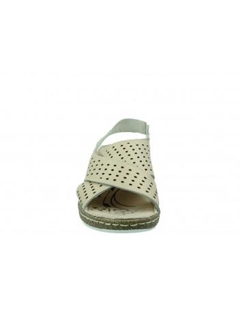 Skórzany sandał na niskiej koturnie T.Sokolski, Kolor beżowy