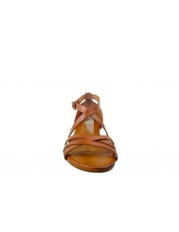 Skórzany sandał Porronet, zapięcie wokół kostki, Kolor brązowy