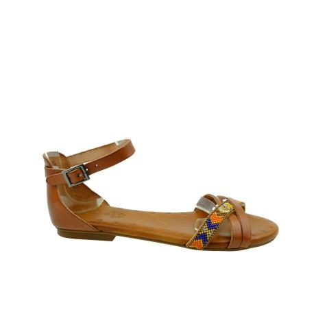 Skórzany sandał Porronet,zakryta pieta,wzór indiański, Kolor brąz
