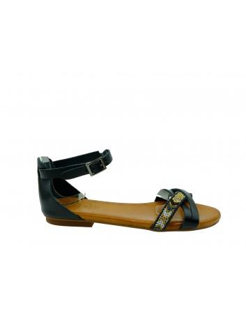 Skórzany sandał Porronet 2412,Kolor czarny