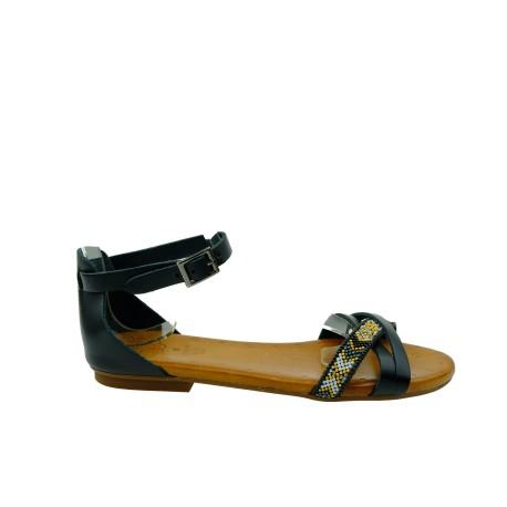 Skórzany sandał Porronet,zakryta pieta,wzór indiański, Kolor czarny