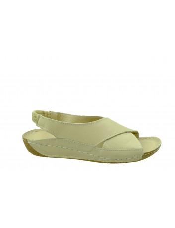 Skórzany komfortowy sandał damski krzyżak T.Sokolski, Kolor beżowy