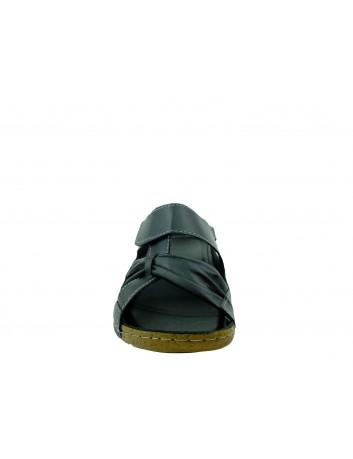 Skórzany komfortowy klapek damski na rzep T.Sokolski, Kolor czarny