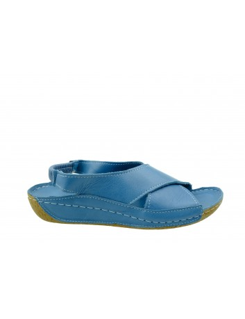Skórzany komfortowy sandał damski krzyżak T.Sokolski, Kolor niebieski