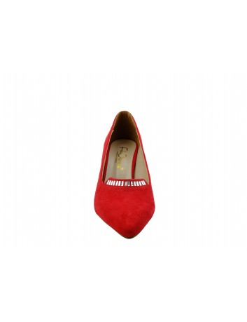 Czółenko damskie na obcasie szpic Filo Donna, Kolor czerwony zamsz