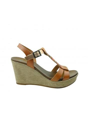 Skórzany sandał damski Porronet, Kolor brązowy