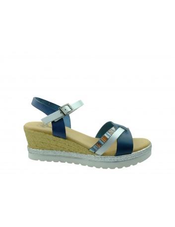 Skórzany sandał damski Porronet, Kolor niebieski