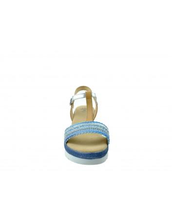 Skórzany sandał damski Porronet, Kolor turkusowy