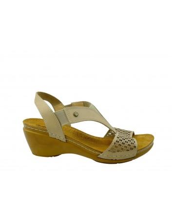 Skórzany sandał damski MUYA, Kolor beżowy