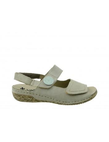 Skórzany sandał damski Rieker, Kolor szary