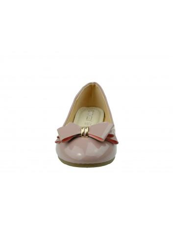 Balerina lakierowana kokarda VINCEZA, Kolor różowy