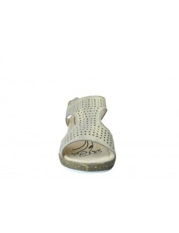 Skórzany sandał na niskiej koturnie T.Sokolski, Kolor złoty
