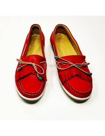 Klasyczny mokasyn damski skórzany T.Sokolski, Kolor czerwony