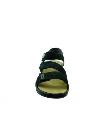 Skórzany sandał damski Rieker 64573-00S, Kolor czarny