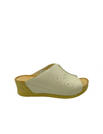 Klapek damski skórzany Wasak 524, Kolor beżowy
