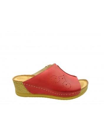 Klapek damski skórzany Wasak 524, Kolor czerwony
