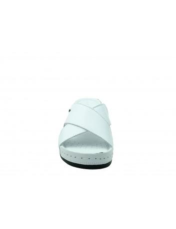 Klapek damski skórzany Wasak 409, Kolor biały