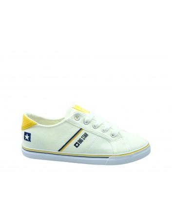 Trampki damskie BIG STAR DD274894, Kolor biały z żółtym
