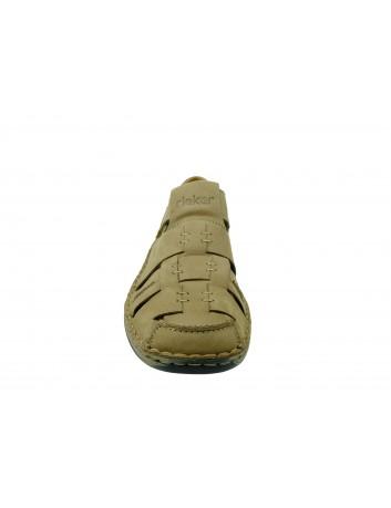 Letni półbut męski skórzany Rieker 05285-20C, Kolor beżowy