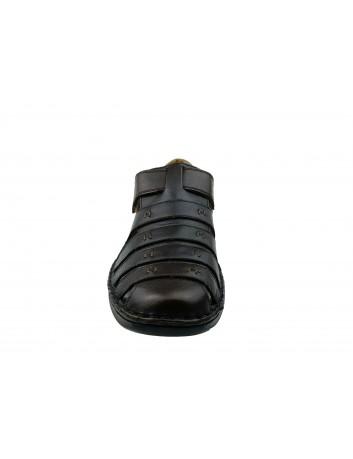 Letni półbut męski skórzany Rieker 05279-25N, Kolor ciemny brąz