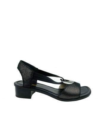 Skórzany sandał damski Rieker  62662-03S, Kolor czarny