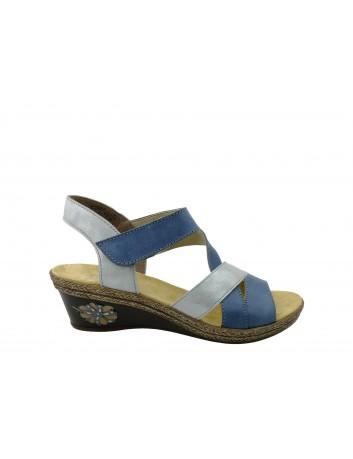 Skórzany sandał damski Rieker V2404-12A, Kolor niebieski