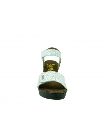 Skórzany sandał damski Rieker 66754-80W, Kolor biały