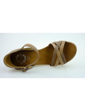 Sandał damski zakryta pięta na koturnie Porronet, Kolor ciemny beż