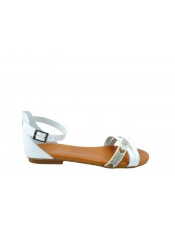 Skórzany sandał Porronet 2412, Kolor biały