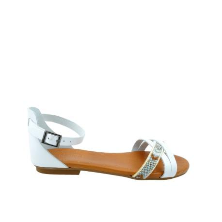Skórzany sandał Porronet,zakryta pieta,wzór indiański, Kolor biały