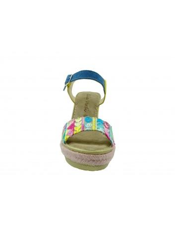Skórzany sandał Gaia Verdi wysoki koturn damski,Kolor różowy