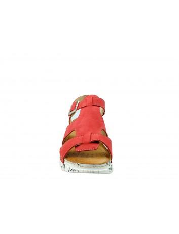 Sandał damski skóra nubuk Wasak 529, Kolor czerwony