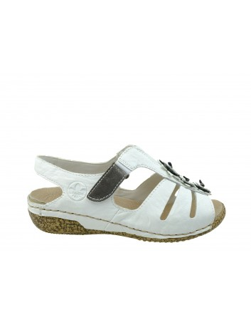 Sandał damski Rieker V7273-81B, Kolor biały