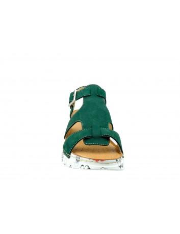 Sandał damski skóra nubuk Wasak 529, Kolor zielony
