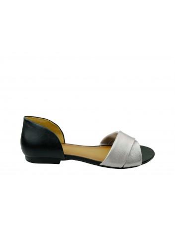 Sandał damski skórzany Maciejka  03615,Kolor czarny z różowym
