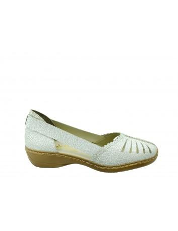 Skórzany letni póbut damski Rieker 413X9-80,Kolor biały