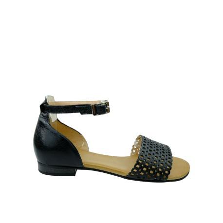 Skórzany sandał damski JUMA 2672B, Kolor czarny