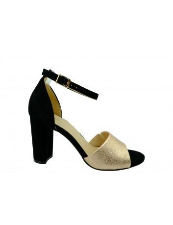 Skórzany sandał damski JUMA 2663,Kolor czarny z różem