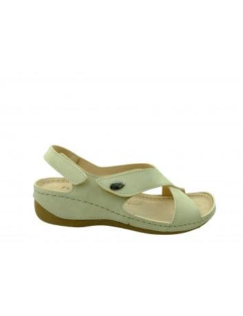 Skórzany sandał damski FLY SOFT BER S302.084,Kolor beż