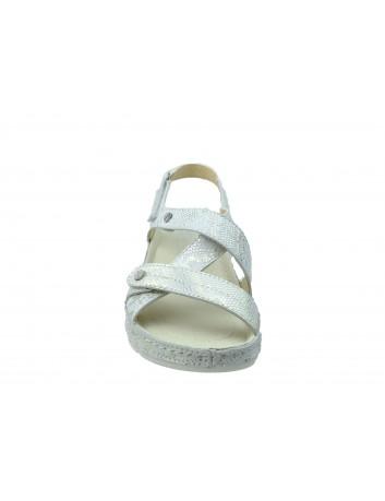 Sandały skórzane PIECH 2014,Kolor biały ze srebrnym