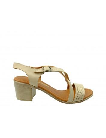 Sandały skórzane damskie ALP 2445 T.Sokolski, Kolor beżowy