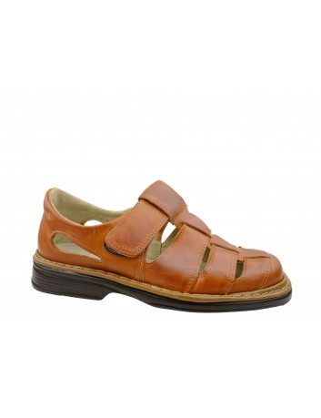 Skórzany sandał męski Kraskór 194,Kolor brązowy