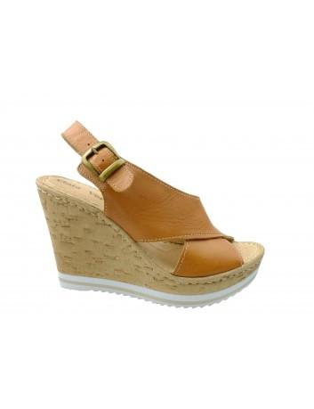 Skórzany sandał damski Gaia Verdi BELA D104 C, Kolor brązowy