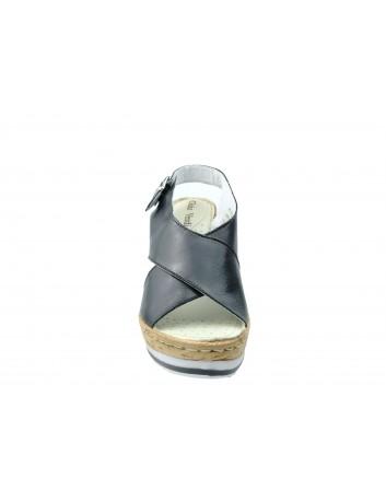 Skórzany sandał damski Gaia Verdi BELA D104 C, Kolor czarny