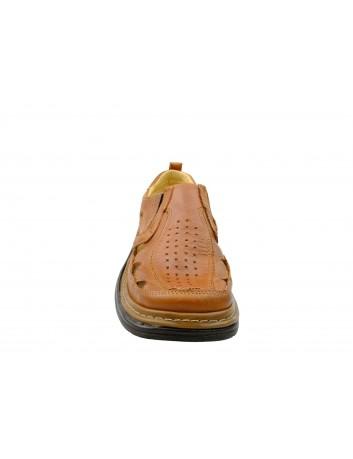 Skórzany sandał męski Kraskór 252,Kolor brązowy